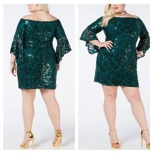 Morgan & Co Off The Shoulder Sequin Dress